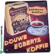 "Douwe Egberts Koffie - lekkere koffie"" ijzeren vintage reclamebord - Gems and Giftshop"