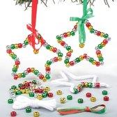 Sets met kraalversiering met kerstster. Leuke knutselsets voor kerst voor jongens en meisjes (5 stuks per verpakking)