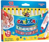 Carioca stempelstift Superwashable 12 stiften (= 12 kleuren en 12 stempelmotieven)