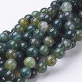 Natuurstenen kralen, Mos-agaat, ronde kralen van 8mm. Verkocht per streng van ca. 40cm (ca. 50 kralen)