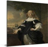 Portret van Geertruida Den Dubbelde - Schilderij van Bartholomeus van der Helst Aluminium 120x160 cm - Foto print op Aluminium (metaal wanddecoratie) XXL / Groot formaat!