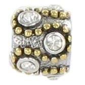 Quiges Bedel Bead - 925 Zilver - Golven Ornament met Zirkonia Kraal - Z320