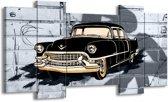 Schilderij | Canvas Schilderij Oldtimer, Auto | Grijs, Zwart, Geel | 120x65cm 5Luik | Foto print op Canvas