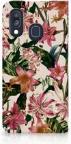 Samsung Galaxy A40 Uniek Standcase Hoesje Flowers