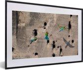 Foto in lijst - Afbeelding van groene bijeneters fotolijst zwart met witte passe-partout 60x40 cm - Poster in lijst (Wanddecoratie woonkamer / slaapkamer)