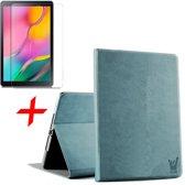 Samsung Galaxy Tab A 10.1 2019 Hoes + Screenprotector - Canvas Eco Leer Book Case - iCall - Blauw