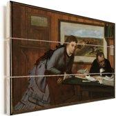 Sulking - Schilderij van Edgar Degas Vurenhout met planken 80x60 cm - Foto print op Hout (Wanddecoratie)