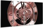 Glas schilderij Klok, Keuken | Bruin, Rood, Zwart | 160x80cm 4Luik | Foto print op Glas |  F006648
