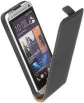 LELYCASE Flip Case Lederen Hoesje HTC One Zwart