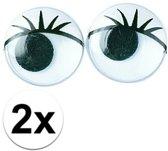 2x zakjes Wiebel oogjes met wimpers 15 mm