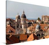Uitzicht vanaf de stadsmuren Dubrovnik Canvas 140x90 cm - Foto print op Canvas schilderij (Wanddecoratie woonkamer / slaapkamer)