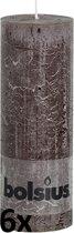 6 stuks Bolsius donkerbruin rustiek stompkaarsen 190/68 (67 uur)