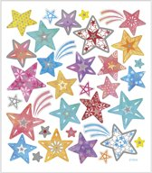 Stickers, vel 15x16,5 cm, circa 31 stuk, sterren, 1vel