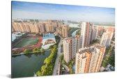 Zonnige dag in de miljoenenstad Fuzhou in China Aluminium 90x60 cm - Foto print op Aluminium (metaal wanddecoratie)