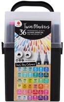 Decotime Twin Markers - XXL pakket met 36 stuks Markers -  alcoholbasis - Met dubbele punt
