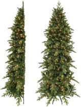Triumph Tree halve kunstkerstboom led emerald pine maat in cm: 215 x 114 groen 176 lampjes met warmwit led