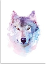 Poster Wolf Waterverf stijl DesignClaud - A2 poster