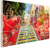 Selaron trappen Rio de Janeiro Hout 60x40 cm - Foto print op Hout (Wanddecoratie)
