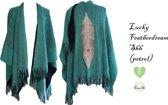 Bohemian Hippie Cowgirl Poncho - Omslagdoek gebreid met franjes – Sjaal franje klassiek – leren veer – petrolblauw