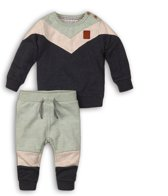 Dirkje Jongens Baby Setje 2-delig - Navy + beige + faded mint - Maat 80