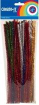Chenilledraad/ pijpenragers diverse kleuren met glitters 30 cm 50 st
