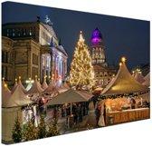 Typisch Berlijnse kerstmarkt Canvas 60x40 cm - Foto print op Canvas schilderij (Wanddecoratie woonkamer / slaapkamer) / Steden Canvas Schilderijen
