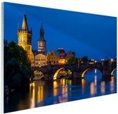 Karelsbrug in de nacht Glas 180x120 cm / XXL / Grote Poster - Wanddecoratie cm - Foto print op Glas (Plexiglas wanddecoratie) cm - Foto print op Poster (wanddecoratie) / Steden Poster