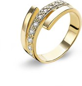 Twice As Nice Ring in 18kt verguld zilver, 3 rijen, met zirkonia Wit 54