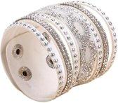 Fako Bijoux® - Armband - Breed - Twist - Wit