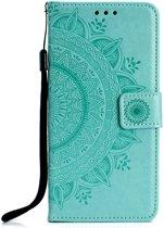 Shop4 - Samsung Galaxy A50 Hoesje - Wallet Case Mandala Patroon Mint Groen