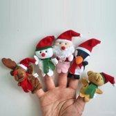 5 x Kerst vingerpoppetje - kerstman, sneeuwpop, rendier etc