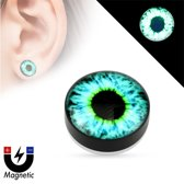 Fake plug piercing glow in the dark oog ©LMPiercings