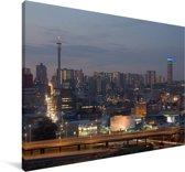 Een rij van flats in Johannesburg Canvas 180x120 cm - Foto print op Canvas schilderij (Wanddecoratie woonkamer / slaapkamer) XXL / Groot formaat!