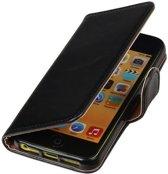 MP Case Zwart vintage lederlook bookcase voor de iPhone SE wallet hoesje