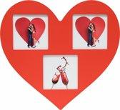 Deknudt Frames Multifotolijst rood in hartvorm,3x(10x10)- 32x30