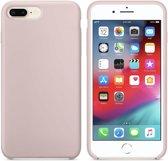 Luxe siliconen hoesje - zand roze - voor Apple iPhone 7 Plus - iPhone 8 Plus - rozenkwarts - suède binnenkant