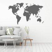 Muursticker Wereldkaart -  Donkergrijs -  120 x 74 cm  - Muursticker4Sale