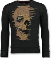 Local Fanatic Skull Glitter - Leuke Sweater Mannen - 6343Z - Zwart - Maten: XL