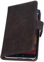 Samsung Galaxy Note 3 Neo - Hout Donker Bruin Booktype Wallet Hoesje