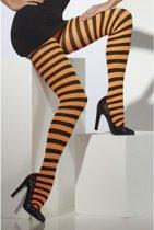 Panty  (neon) Oranje Zwart gestreept