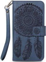 Shop4 - iPhone Xr Hoesje - Wallet Case Dromenvanger Donker Blauw