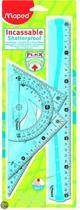 Flex Set met 1 x 30 cm liniaal/2 x 21 cm driehoek  / gradenboog - blauw