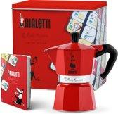 Bialetti Espressomaker Moka Express - rood - 3 kops - Gratis bewaarblik en notitieblok