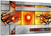 Canvas schilderij Art   Grijs, Zwart, Oranje   120x70cm 1Luik