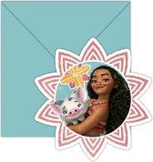 6 Vaiana™ uitnodigingen en enveloppen - Feestdecoratievoorwerp