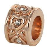 Quiges - Rosé goudkleurige Aanschuif Charm Bedel Love Variatie met Zirkonia voor Quiges Wikkelarmbanden - EHC150