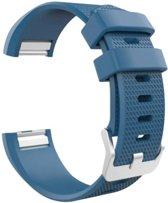 Siliconen polsbandje voor de Fitbit Charge 2 Maat S - Blauw / Grijs