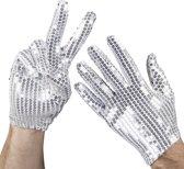 16 stuks: Handschoenen pols Pailletten - zilver