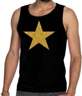 Gouden ster glitter tanktop / mouwloos shirt zwart heren - heren singlet Gouden ster M