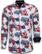 Gentile Bellini Italiaanse Overhemden - Slim Fit Overhemd - Blouse Big Flower Pattern - Wit - Maten: XXL